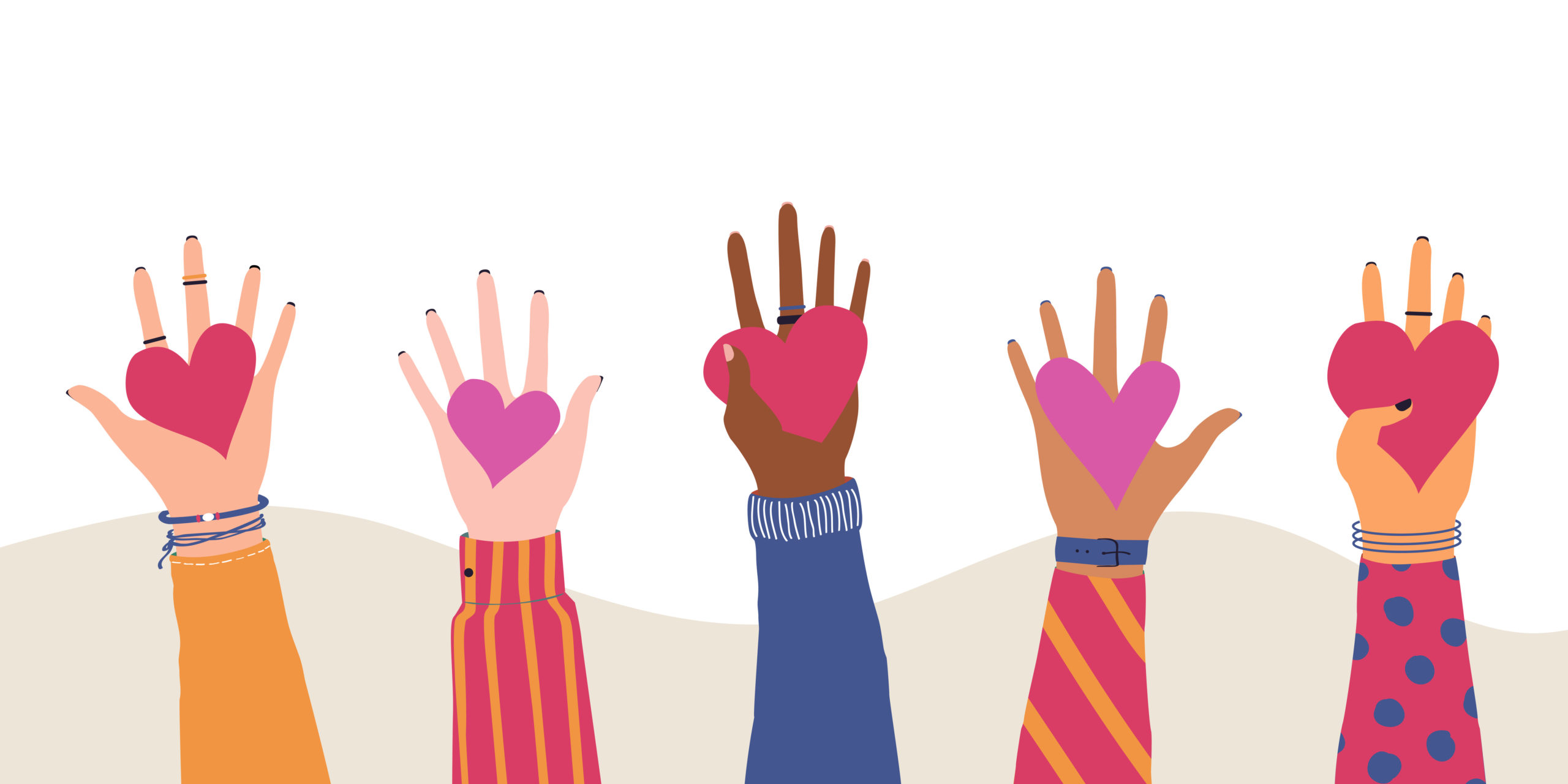 Vector trendy illustration with different hands holding heart. Concept of giving and sharing love to people, volunteering, charity, cooperation
