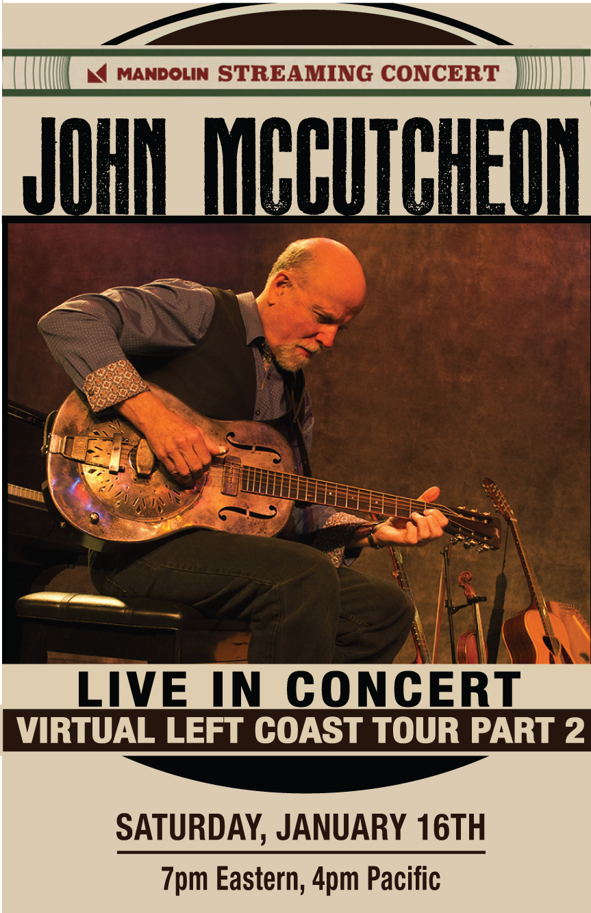 John McCutcheon, January 16th, 4pm Virtual Concert