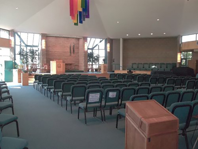 <h2>Sanctuary</h2><br />Our worship space (no religious symbols evident) accommodates 299 people in upholstered chairs.